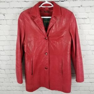 DANIER | button up red leather lined jacket